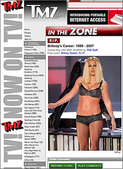 TMZ.com, which covers celebrity stories such as Britney Spears' performance on the MTV Video Music Awards lets readers post audio comments on its website.