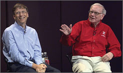 Bill Gates (left) and Warren Buffett, the two richest men in America, get together with students and faculty from the College of Business Administration at the University of Nebraska at Lincoln to answer their questions.