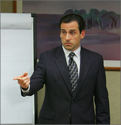 Steve Carell plays the self-absobed leader of fictitious office-supply distributor Dunder Mifflin in NBC's comedy &quot;The Office.&quot;