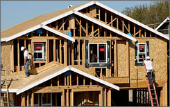 A home under construction last month in Richmond, Calif. Builders are struggling to keep their heads above water during the housing market slowdown.