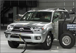 The 2008 Toyota 4Runner with standard side airbags received the highest score on side-crash tests.