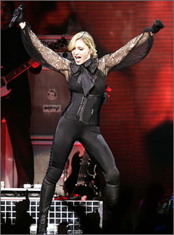 """Madonna performs during her """"Confessions"""" tour in Montreal in June 2006."""