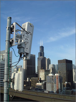 A WiMax tower and base station on a downtown Chicago rooftop.