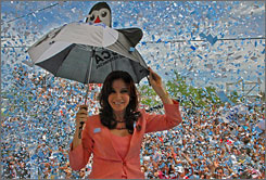 Cristina Fernandez de Kirchner, Argentina's first lady and presumed next president, at a campaign rally Monday in Bolivar.