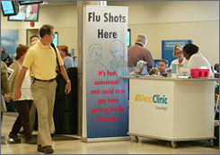 An Aero Clinic kiosk at Hartsfield-Jackson International Airport offers flu shots for travelers.