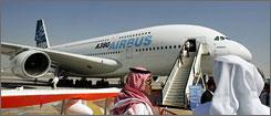An Airbus A380 on display at the 2007 Dubai air show.