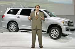 Toyota's Bob Carter talks about the second-generation Toyota Sequoia SUV at the Los Angeles Auto Show on Wednesday.