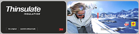 3M's ads for its Thinsulate brand will appear on plasma screens and ski racks at winter resorts.
