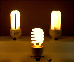 Compact fluorescent bulbs like these cost about four times more than the traditional, incandescent variety but last about six times longer.