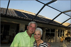 Bill and Sue Lottridge of Estero, Fla., thought having a solar heater for their pool wasn't enough, so they got one for their home's water as well.