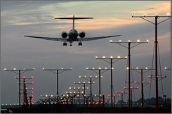 A jet lands at Los Angeles International Airport in 2006. Airlines themselves are to blame for many flight delays, a USA TODAY analysis shows.