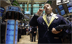 Trader Anthony Spina working on the floor of the New York Stock Exchange in September.