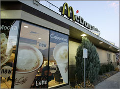 McDonald's has been testing coffee drinks such as cappuccinos and lattes for more than two years.