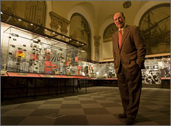 John Herzog at the Museum of American Finance, which re-opens Friday after a $9 million makeover. Herzog started the museum in the late 1980s.