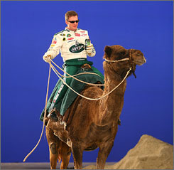 NASCAR icon Dale Earnhardt Jr. rides a camel in a commercial for Pepsi's Amp Energy drink.