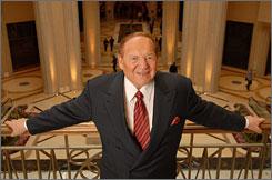 Billionaire Sheldon Adelson in his 3,000-room Palazzo, the newest casino hotel on The Strip.