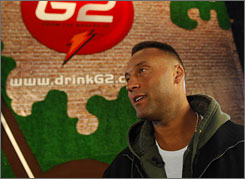 Derek Jeter promotes Gatorade's G2 in New York.
