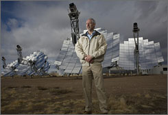 Bruce Osborn of Stirling Energy Systems at Sandia National Laboratories in Albuquerque. Stirling plans to make two of the world's biggest solar farms.