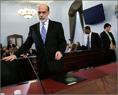 Fed Chairman Ben Bernanke arrives for a recent House hearing. Many expect the Federal Reserve Board to lower rates again at its meeting next week.