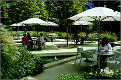 Cox Enterprises' eco-friendly corporate cafeteria in Atlanta has an eating area in an arboretum.