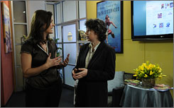 Molly Pesce, left, interviews author Meg Wolitzer on set of Barnes & Noble Tagged! a magazine-style weekly Web series on the new multimedia network of Barnes & Noble.