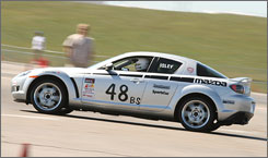 Amateur racer Jason Isley of Ladera Ranch, Calif., drives his Mazda RX-8 at the 2007 Sports Car Club of America Solo National Championships.