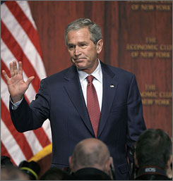 President Bush arrives for a speech at the Economic Club of New York.