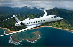 The 18-seater Gulfstream G650 features a full kitchen and bar and has an 8,000-mile range.