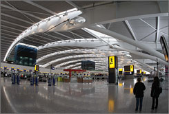 The check-in hall in the new Terminal 5 at London's Heathrow on Feb. 20, in preparation for its opening.