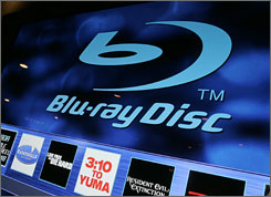 The Blu-Ray disc logo is displayed at January's Consumer Electronics Show. New features are on tap for the brand's high-def DVD players.
