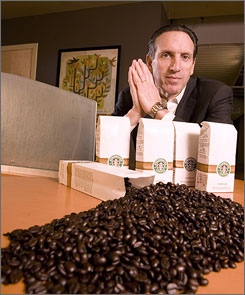 CEO Howard Schultz, at Starbucks' headquarters in Seattle, says the first step in his turnaround strategy is grinding beans for brewed coffee.