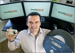 Brad Wilson, 27, of Chicago, operates the site BradsDeals.com, where he and co-workers find and write about online shopping deals every day and maintain a database of over 2,000 free online coupons.
