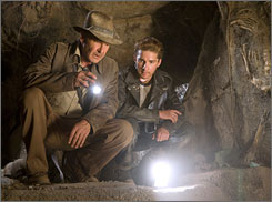 Harrison Ford, left, is back as Indiana Jones, co-starring with Shia LaBeouf in 'Indiana Jones and the Kingdom of the Crystal Skull'.