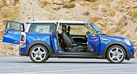 Bigger version of the popular Mini Cooper, with a teensy extra door on the passenger's side.