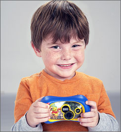 The Disney Pix Jr. digital camera, with versions including a Winnie the Pooh design shown here, is built tough enough for a toddler to handle.