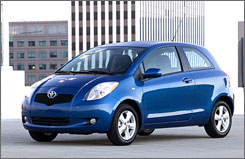Toyota says sales of the Yaris rose 58% in April.