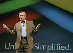 Microsoft's Jeff Raikes makes a presentation at a 2007 conference.