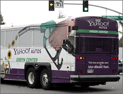A bio-diesel bus takes Yahoo workers from headquarters in Sunnyvale, Calif., on Jan. 28.