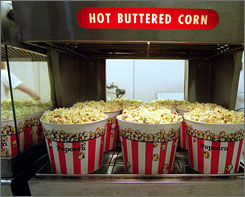 Popcorn at a Virginia theater. Cinema owners are raising prices for the treat as corn costs jump.