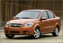 The Chevrolet Aveo is one of several smalller, fuel-efficient cars that is selling for less than a year ago.