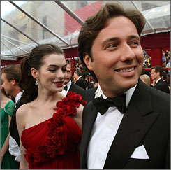 Italian businessman Raffaello Follieri and his then girlfriend, actress Anne Hathaway, arriving at the 80th annual Academy Awards on February 24, 2008.