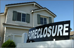 A foreclosure sign sits in front of a home for sale April 29, 2008 in Stockton, California. As the nation continues to see widespread home loan foreclosures, Stockton, California led the nation with the highest foreclosure rate.