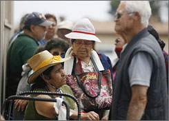 Once a month, seniors line up at a food bank at St. Mark's Lutheran Church in Chula Vista, Calif., to get a box of food. It includes such items as cereal, spaghetti, tuna, canned fruit, vegetables, juice and peanut butter.
