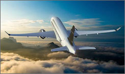 Artist's rendering of Bombardier's new CSeries jet.