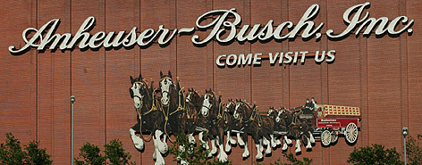 A sign at Anheuser-Busch headquarters in St. Louis. The InBev and A-B deal will create the world's largest brewery, surpassing SABMiller.