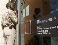 A notice at an IndyMac Bank branch in Burbank, Calif., informs customers of the FDIC takeover.