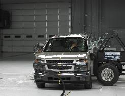 A 2008 Chevrolet Colorado Crew Cab without optional side airbags is tested in a side impact crash test.