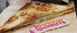 This file photo shows a flatbread sandwich in a Dunkin' Donuts franchise in Boston.