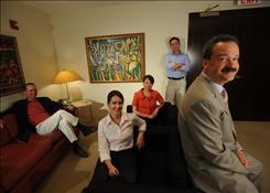 David Perez, left, Tatiana Barbato, Yue Guan, Alex Ventosa and Marcos Rodriguez eye Latino-related business investments at Palladium Equity Partners.