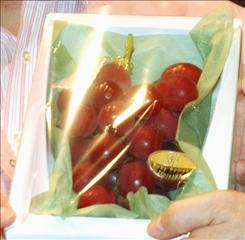 Ruby Roman grapes made their debut at a market auction in Kanazawa city, Japan, averaging about $245 per bunch.